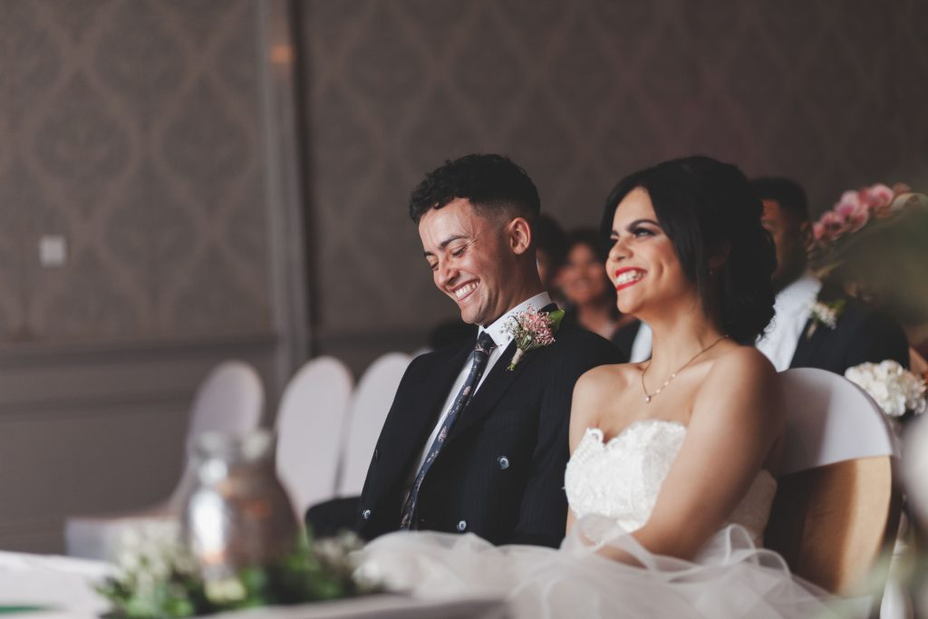 Jodi and Jade wedding photography Dublin Wexford smiling couple joke