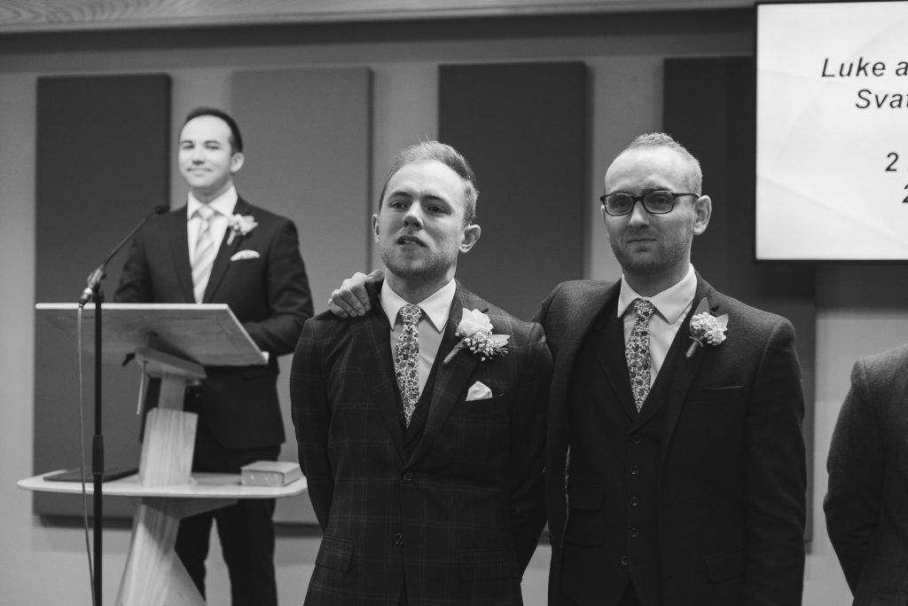 groom crying as he sees bride for the first time