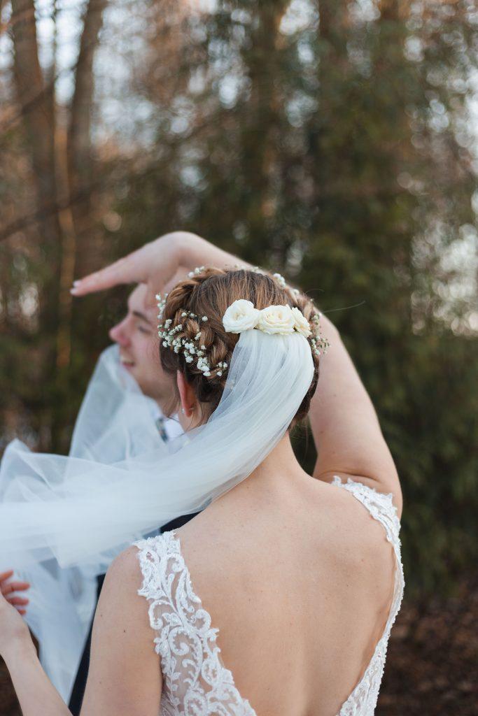 banbury oxfordshire winter wedding veil flowing