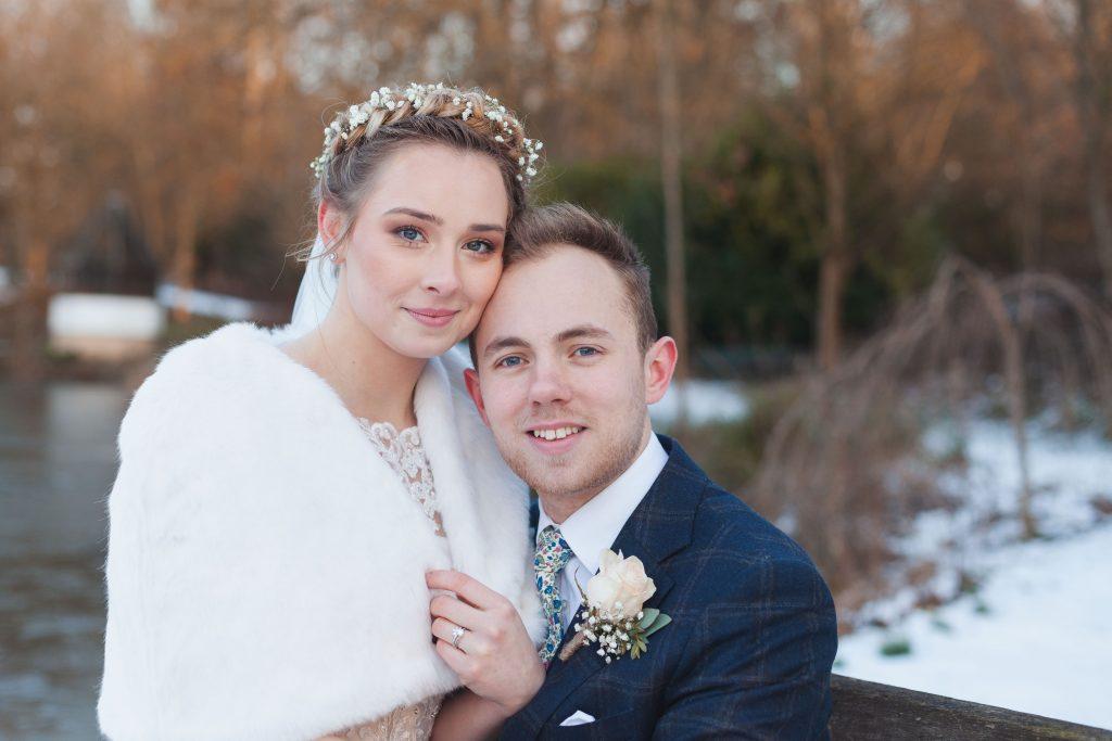 banbury oxfordshire winter wedding couple smiling