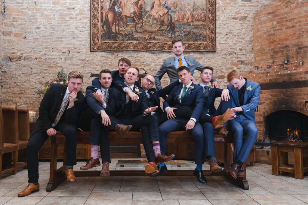 banbury oxfordshire winter wedding epic groomsmen group photo the great barn of aynho