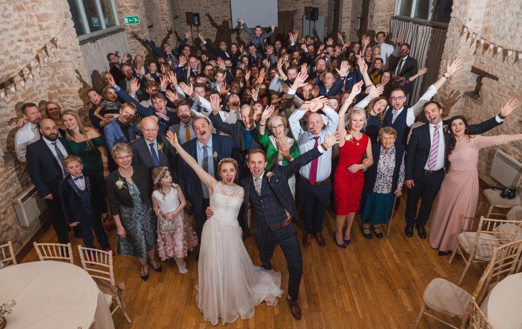 banbury oxfordshire winter wedding group shot of everyone