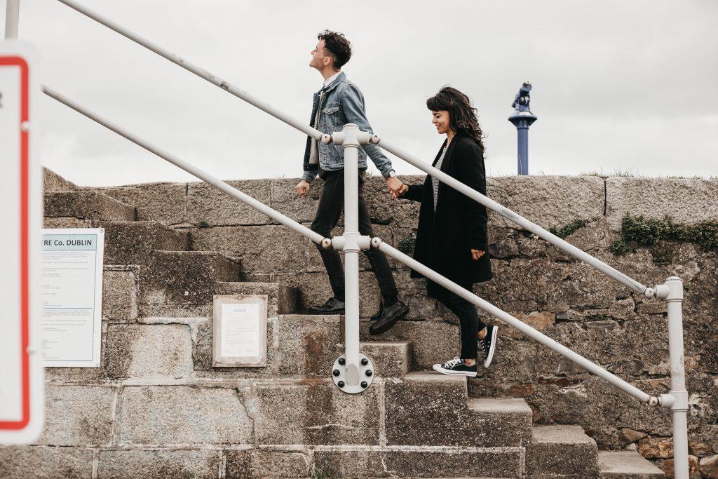 Jodi + Jade couple walking up stairs