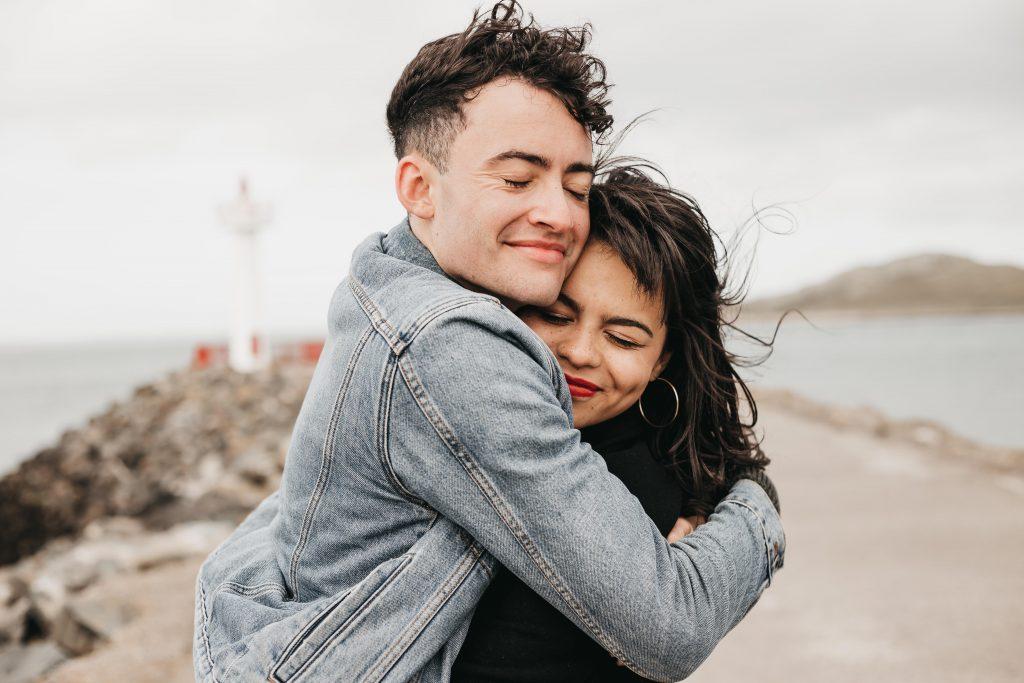 Jodi + Jade Howth engagement shoot close hugs