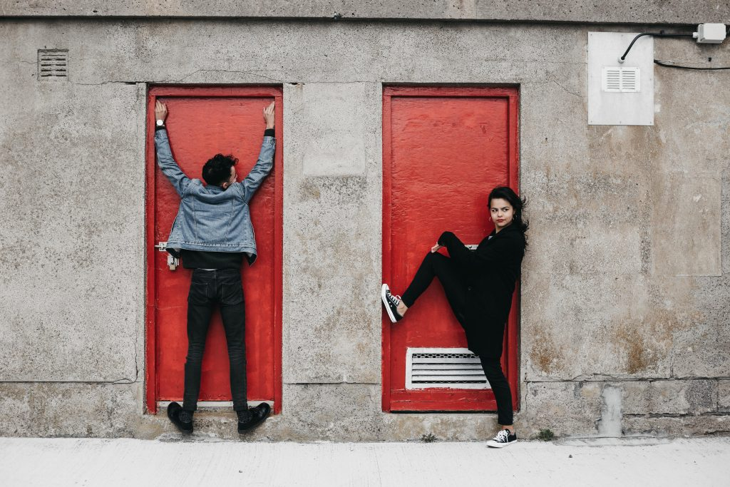 Jodi + Jade Howth engagement shoot red doors
