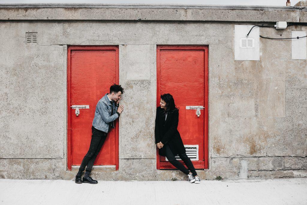 Jodi + Jade Howth engagement shoot red doors lighthouse