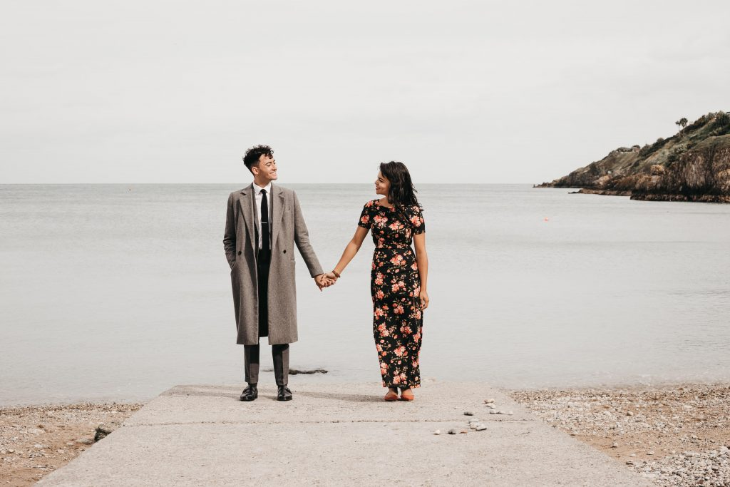 Jodi + Jade Howth couple shoot vintage outfit on the pier
