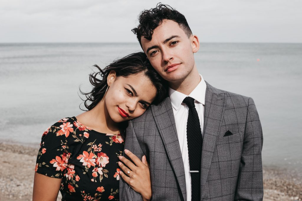 Jodi + Jade Howth engagement shoot fiance holding arm of man