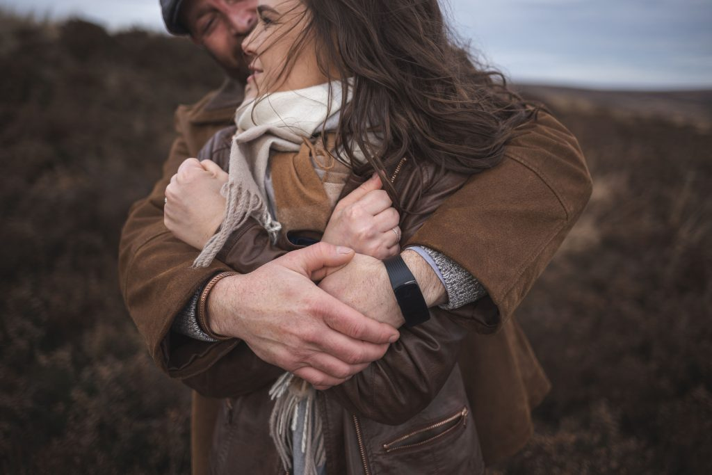 Marli + Andre wicklow mountains engagement shoot couple close up of their hands