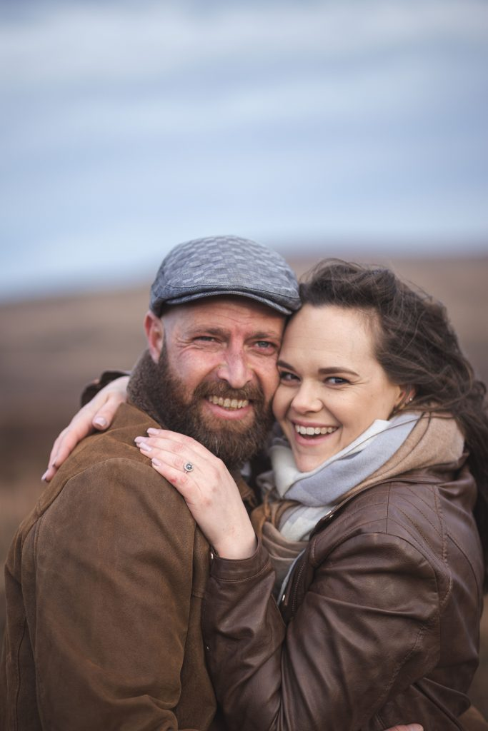 Marli + Andre wicklow mountains engagement shoot couple happy portrait