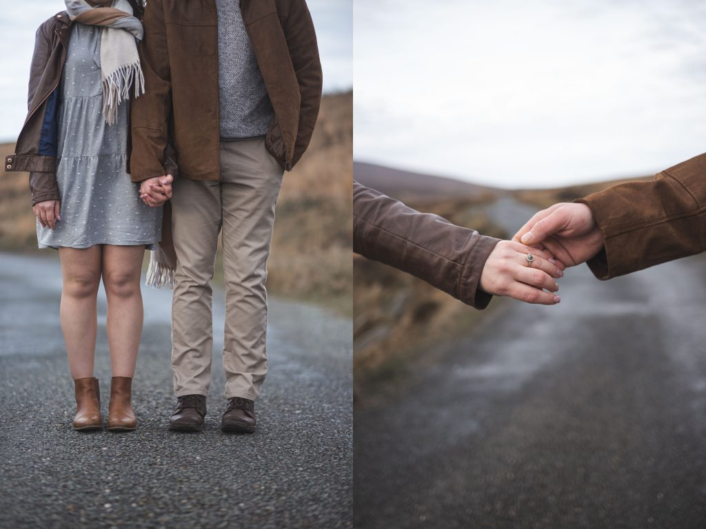 Marli + Andre wicklow mountains engagement shoot couple holding hands with road in the distance
