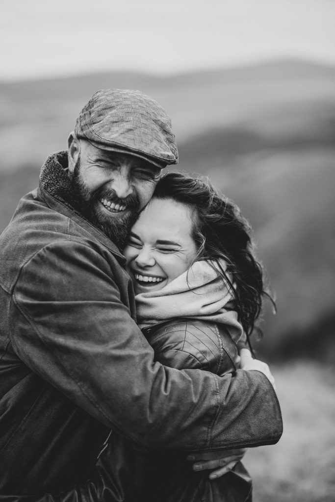 Marli + Andre wicklow mountains engagement shoot couple laughing black and white
