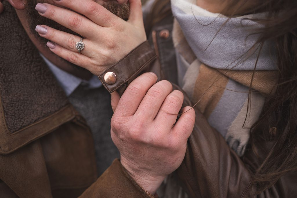 Marli + Andre wicklow mountains engagement shoot close up of cold hands