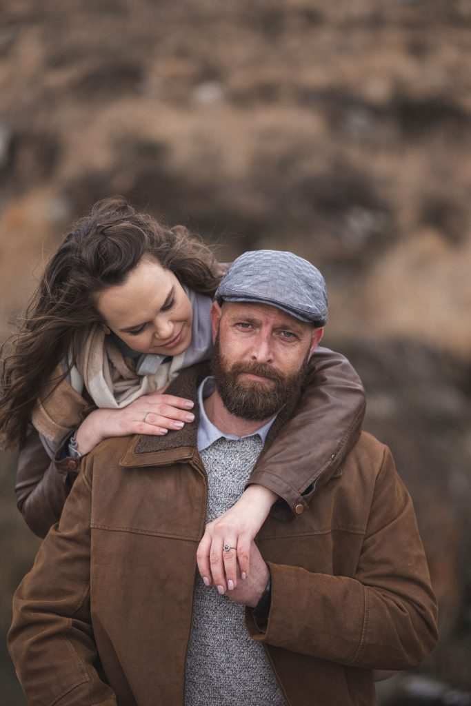 Marli + Andre wicklow mountains engagement shoot couple man looking at camera