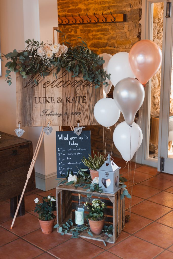 Luke + Kate Welcome sign, Order of Events Wedding