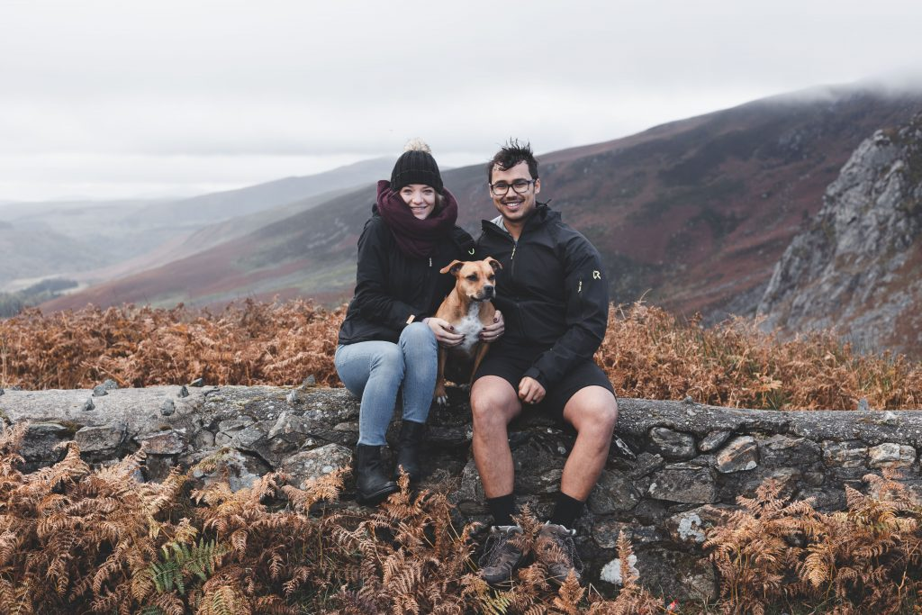 family picture with a couples dog taken in Ireland at Sally gap