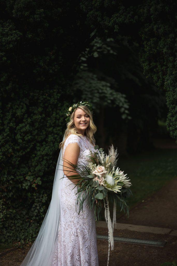 Jack and Katie Antrim Castle gardens elopement beautiful bride first look