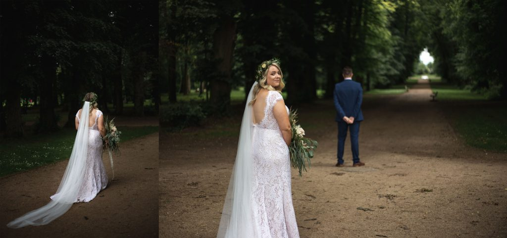 Jack and Katie Antrim Castle gardens elopement excited bride for first look