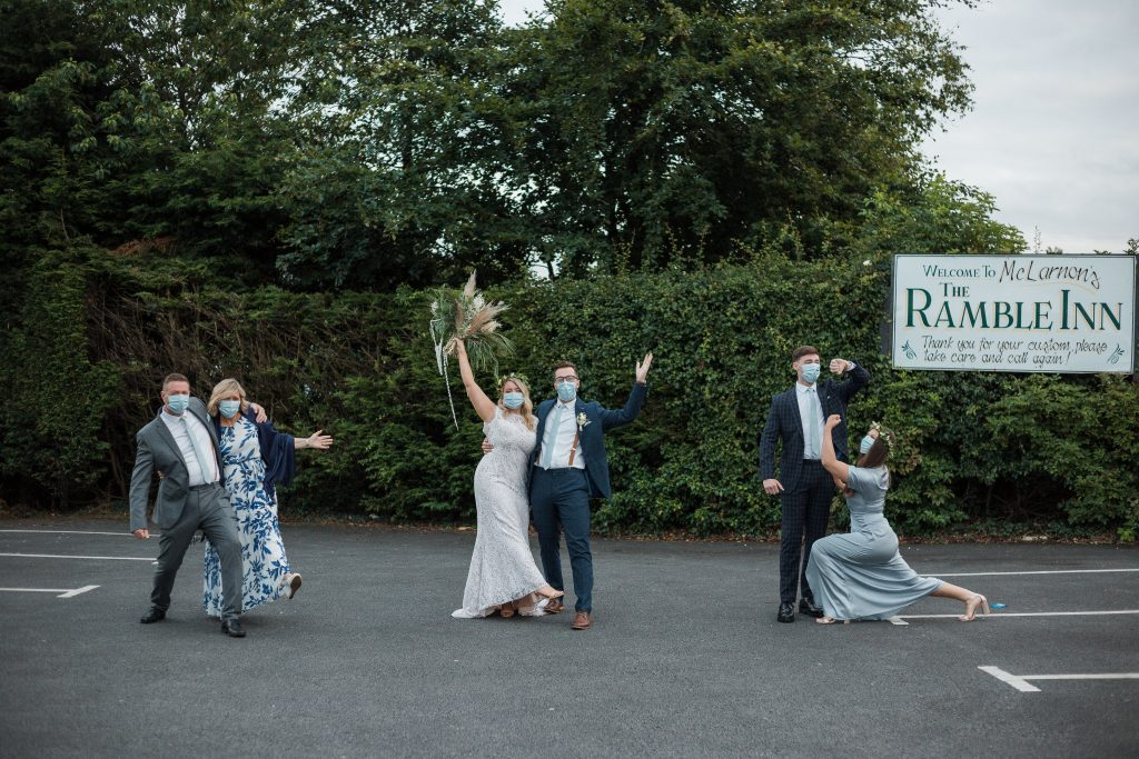 Jack and Katie Antrim Covid Elopement wedding photography fun pose