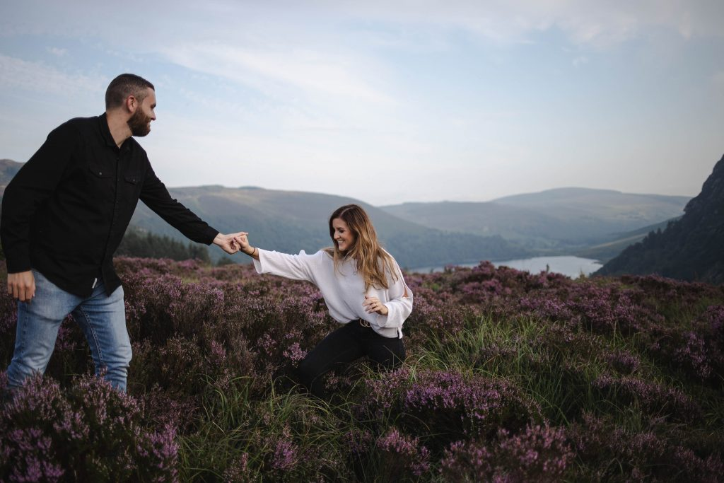 Anna and Colm couples photography in wicklow mountains beautiful landscape