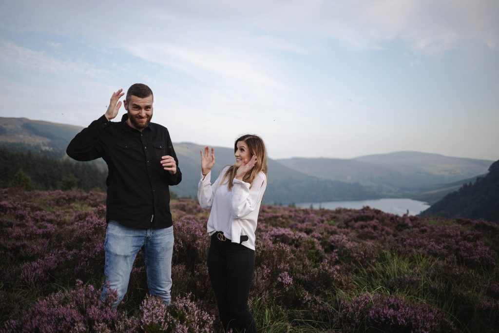 Anna and Colm couples photography in wicklow mountains beating away miggies