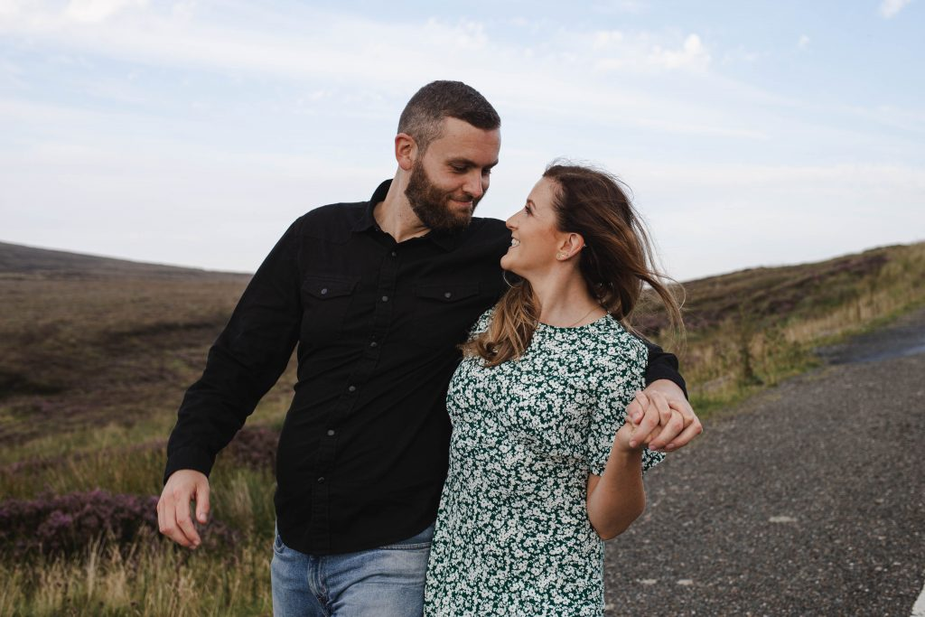 Anna and Colm couples photography in wicklow mountains drunk walk