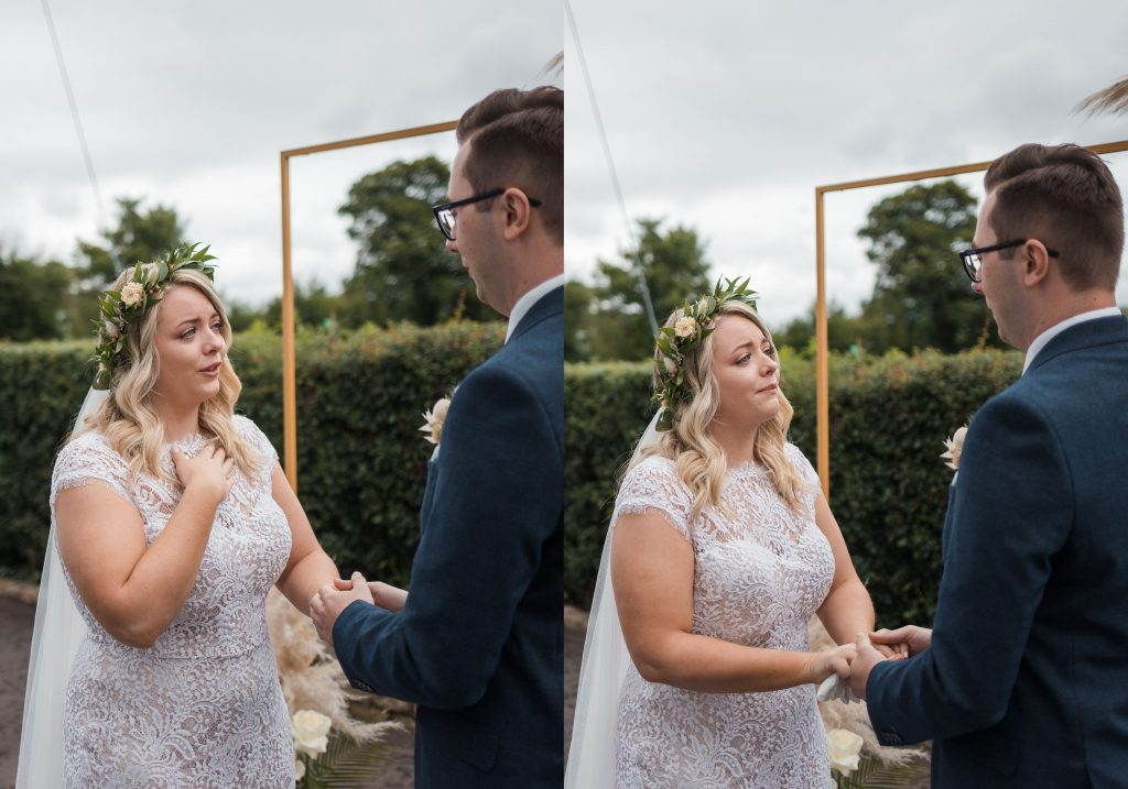 Jack and Katie Antrim Elopement covid zoom wedding photography bride emotional as she says her vows
