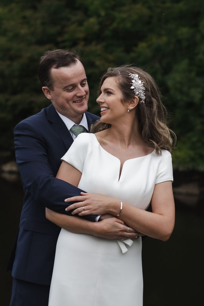 Gemma and Paddy New Ross wedding couple holding each other