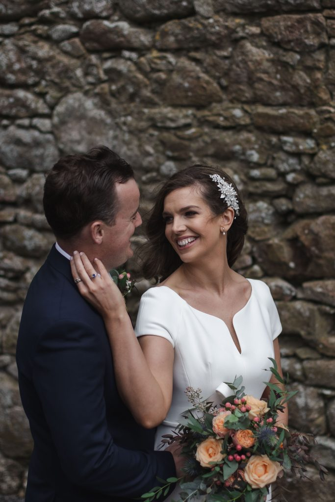 Gemma and Paddy New Ross wedding couple castle ruins