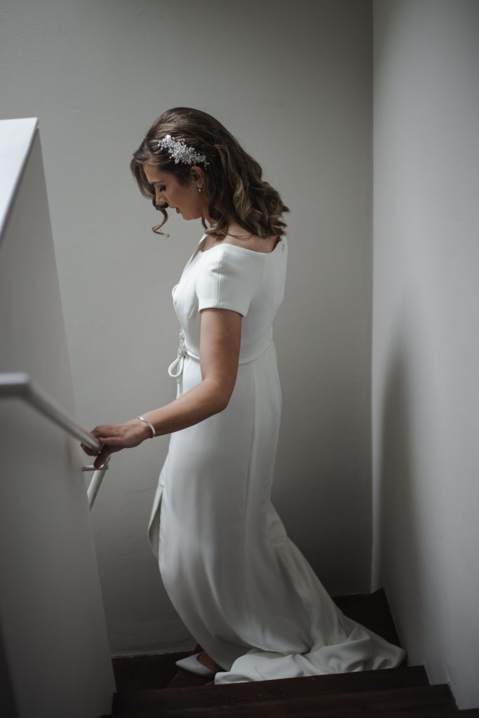 Gemma and Paddy New Ross Intimate wedding bride walking down stairs