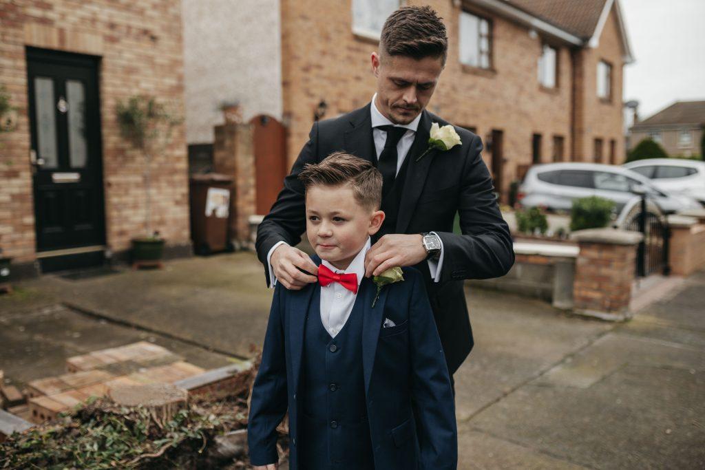 Troy and Laura Dublin City Wedding groom and son