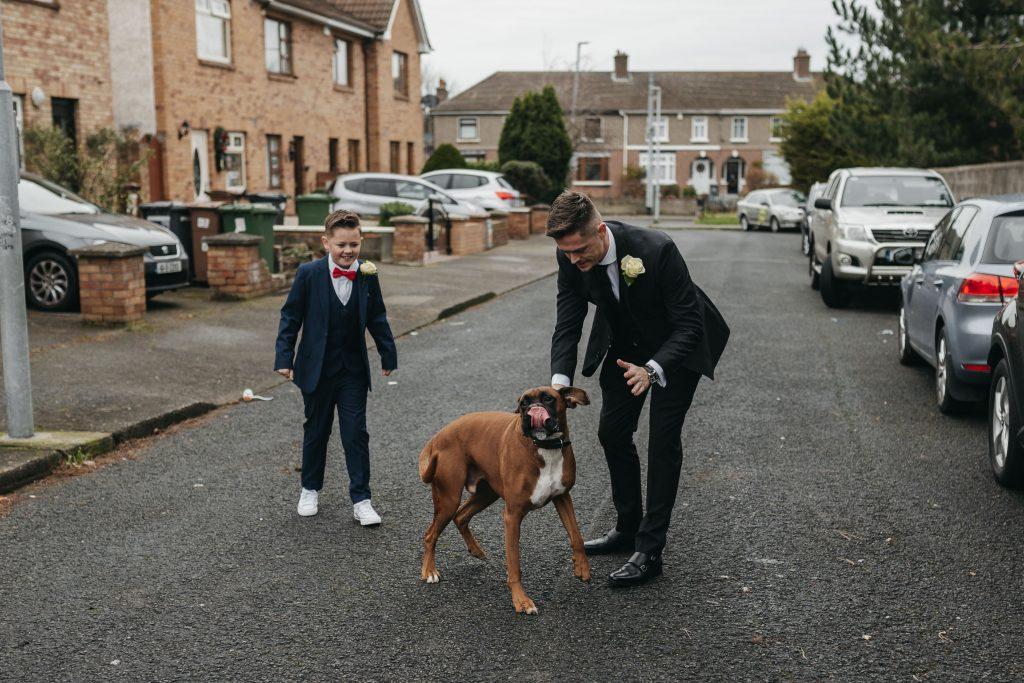 Troy and Laura Dublin City Wedding with their dog
