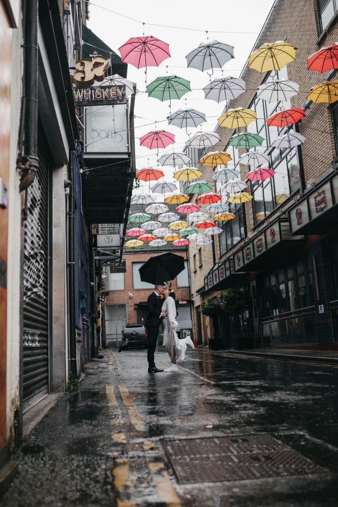 Troy and Laura Dublin City micro Wedding under the Dublin umbrellas