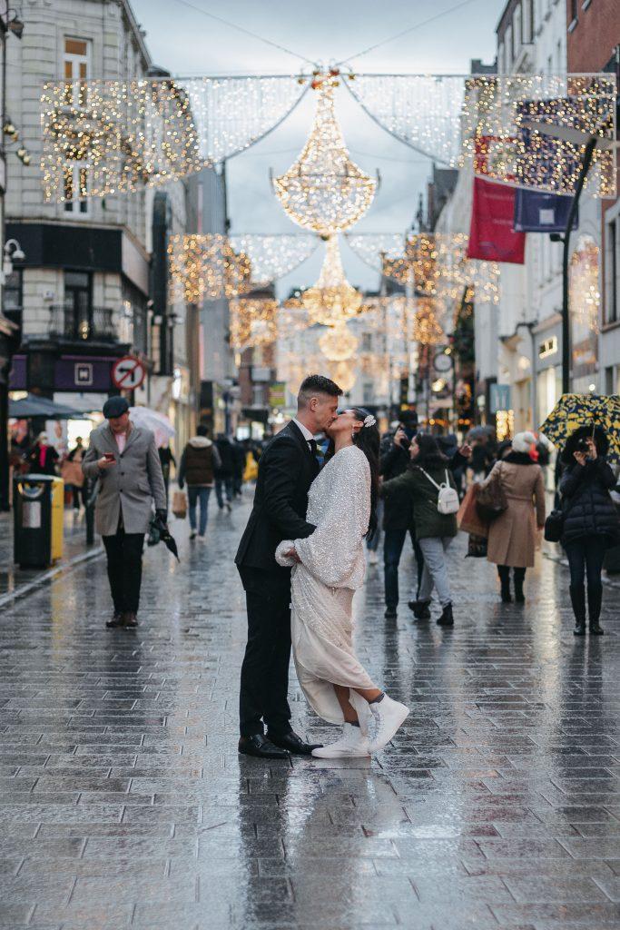 Troy and Laura Dublin City Wedding Grafton street christmas lights