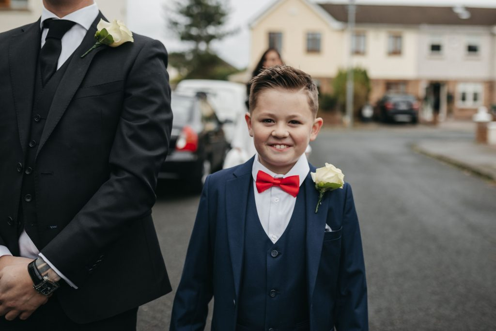 Troy and Laura Dublin City Wedding son ready for the first look