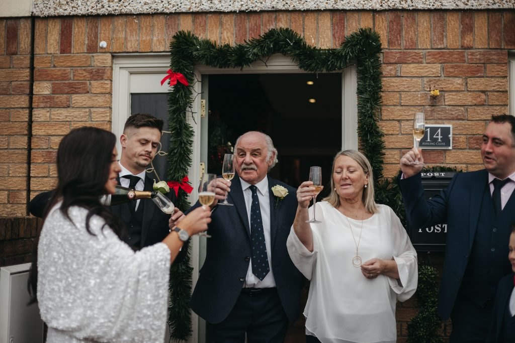 Troy and Laura Dublin City Wedding family cheers